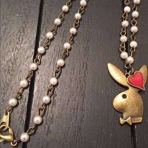 """Jewelry - 20"""" Antique Brass and Glass Pearl Playboy Necklace"""